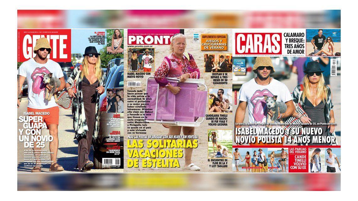Tapa de revistas: Isabel Macedo con su nuevo novio y Estelita Ventura solitaria