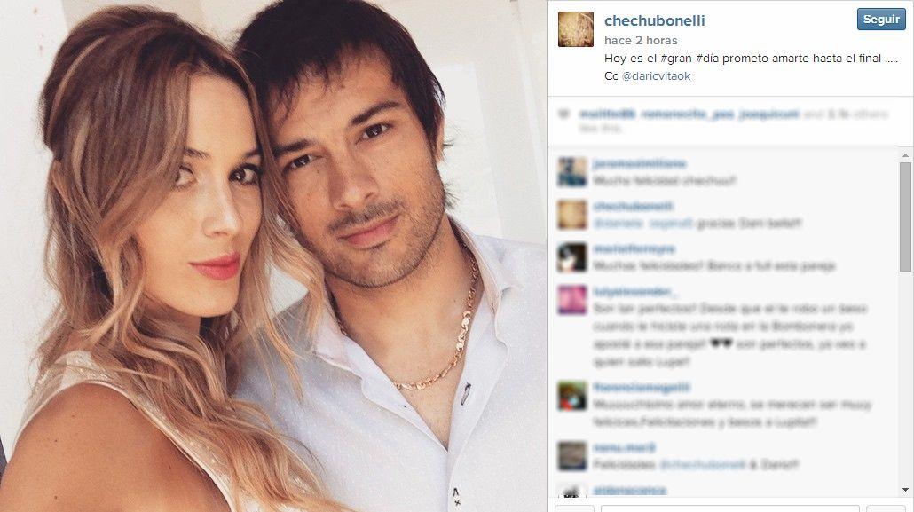 El romántico mensaje de Chechu Bonelli en el día de su boda con Cvitanich