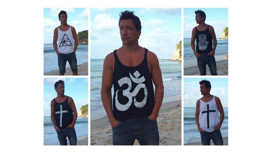 La nueva faceta de Nicolás Vázquez: ahora diseña remeras y las modela él
