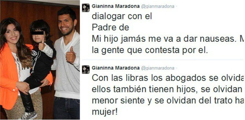 Gianinna Maradona reclama que el Kun Agüero no le habla y manda a su abogado, que la maltrata