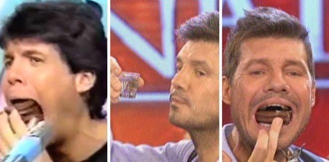 Imperdible: Marcelo Tinelli comió cuatro alfajores y tomó un shot de Vodka en vivo