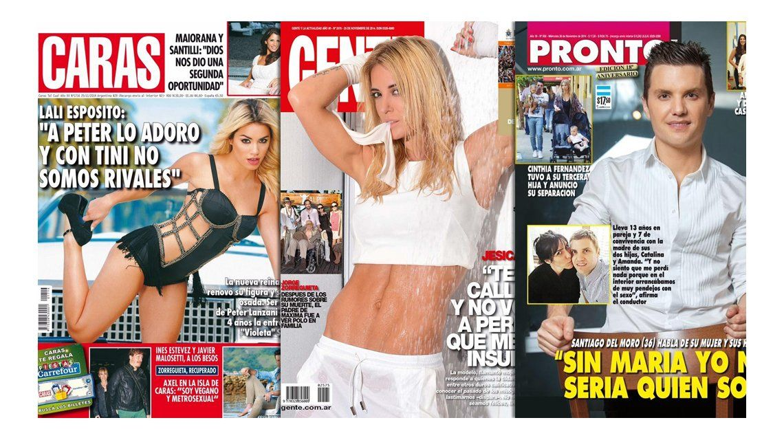 Las fotos y declaraciones provocadoras de Lali Espósito y Jésica Cirio; y la confesión de Santiago del Moro