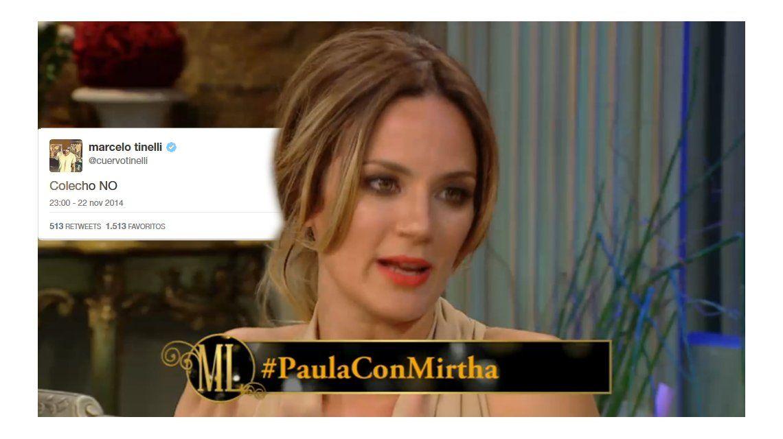 Mientras Paula hablaba en lo de Mirtha, Tinelli le respondía por Twitter
