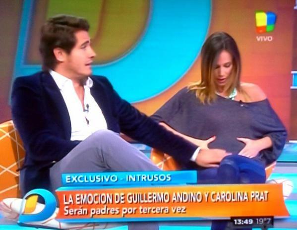 Guillermo Andino y su mujer Carolina Pratt, embarazados: ella mostró la pancita