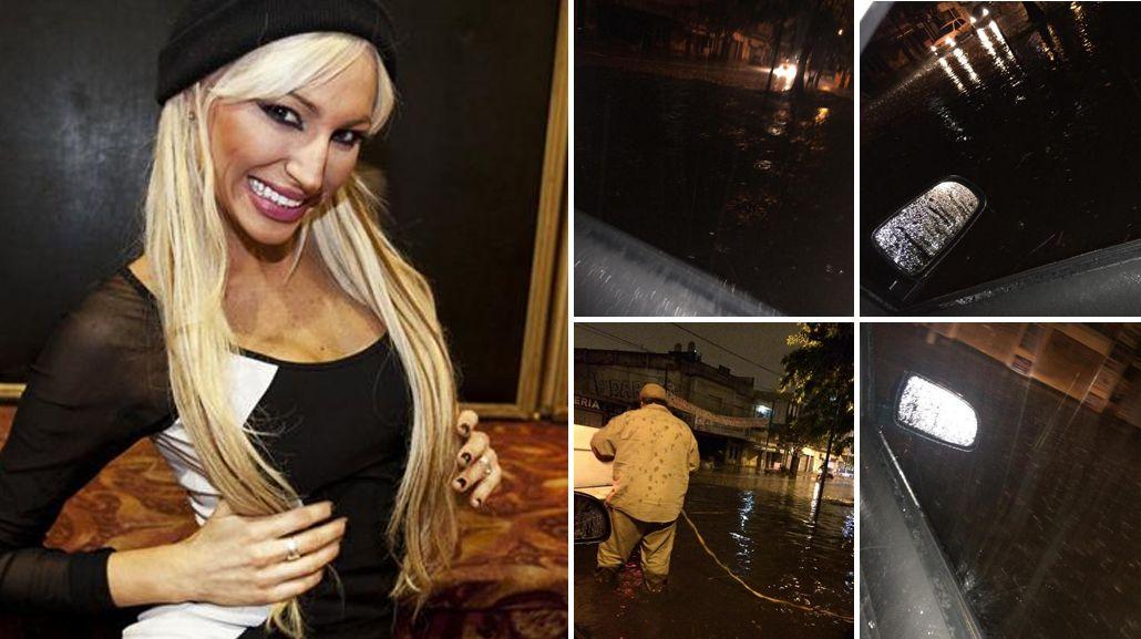 Vicky Xipolitakis, bajo el agua: se quedó varada con su auto en medio del temporal