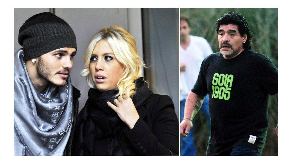 Mauro Icardi feroz con Diego Maradona, ex de Wanda Nara