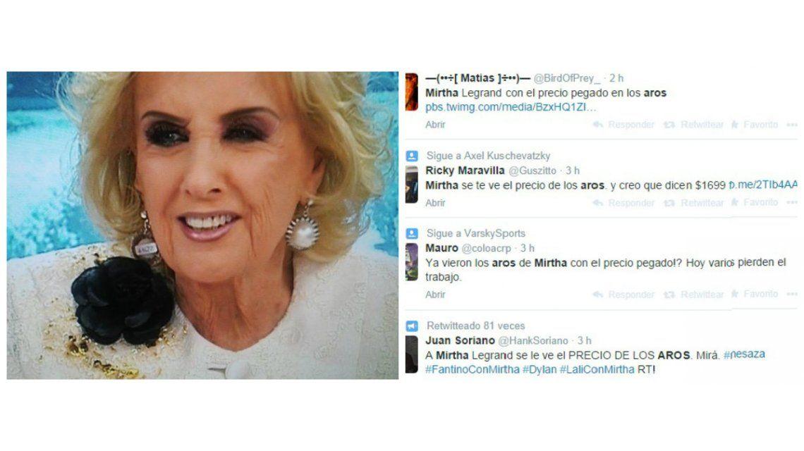 El nuevo blooper: se olvidaron de sacarle el precio a los aros de Mirtha Legrand