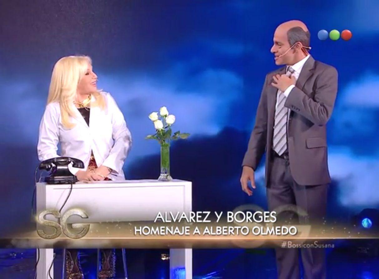 El reencuentro de Susana y el Negro Olmedo en la piel de Martin Bossi por TV