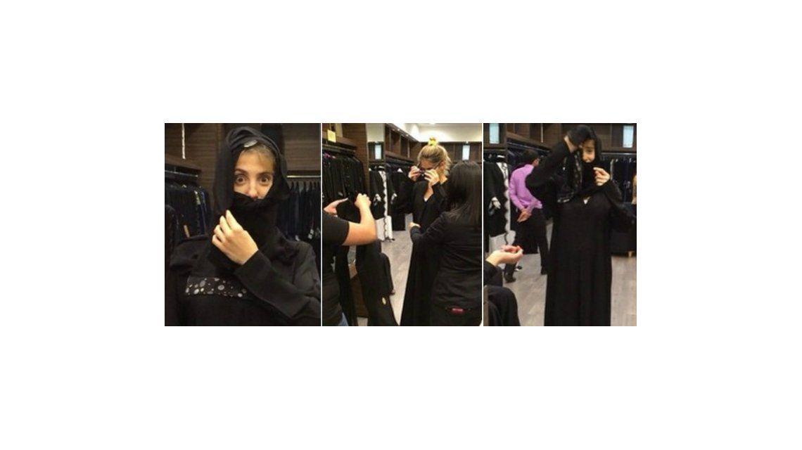 Cinthia Fernández dejó el hilo dental y se puso la abaya, la túnica árabe