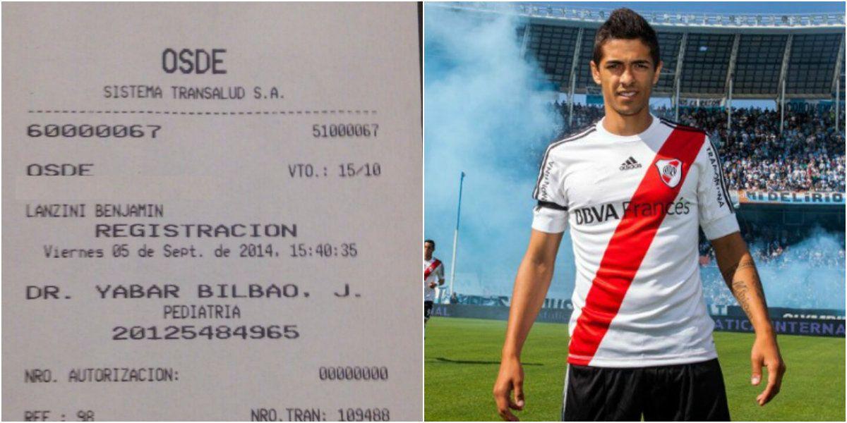 La prueba de la suspensión de obra social del hijo del jugador Manuel Lanzini