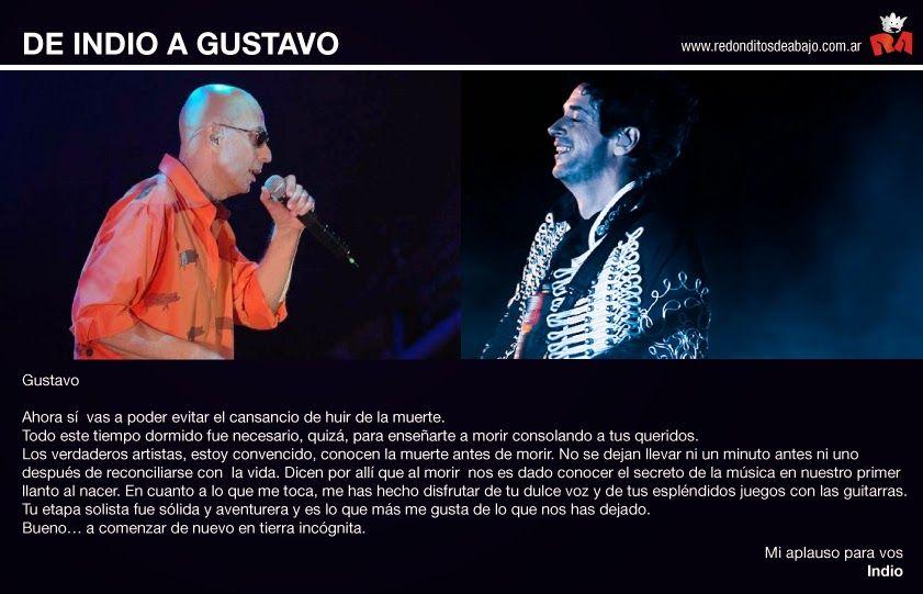 Las palabras del Indio Solari para Gustavo Cerati: Me has hecho disfrutar de tu dulce voz