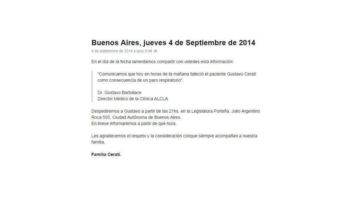 La confirmación oficial del fallecimiento de Gustavo Cerati