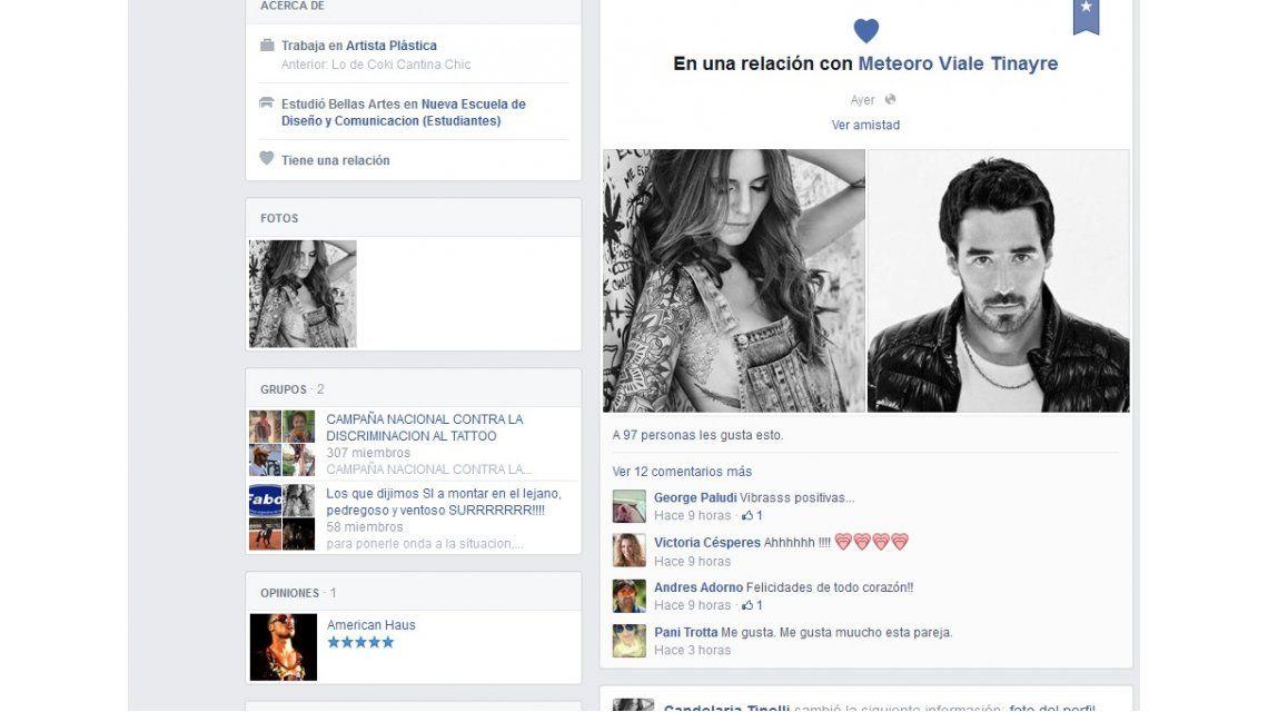 Romance blanqueado entre Candelaria Tinelli y Nacho Viale en Facebook