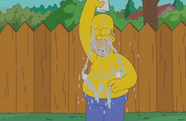 Faltaba él: Homero también se sumó al desafío de agua helada