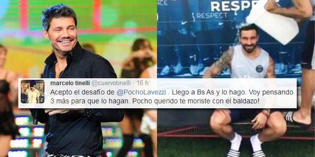 Tinelli aceptó el desafió de Lavezzi y se suma a la campaña del baldazo de agua fría