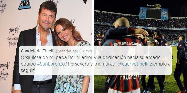 El emotivo tuit de Candelaria Tinelli a Marcelo por el triunfo de San Lorenzo