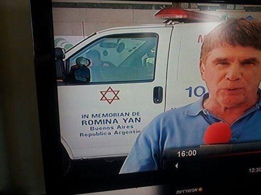 El homenaje a Romina Yan en una ambulancia que transporta heridos en Israel