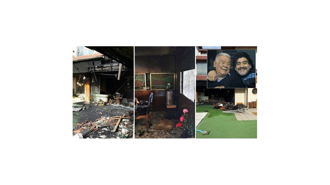 Así quedó la casa de Don Diego Maradona después del incendio