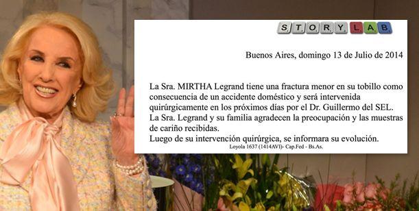 La verdad sobre la fractura de tobillo de Mirtha Legrand