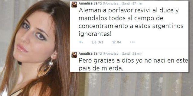 El final de la breve y penosa carrera mediática de Annalisa Santi: se fue de boca y Twitter la bloqueó