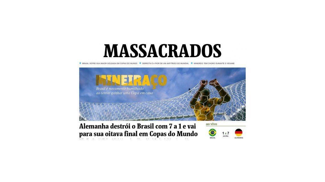 La prensa brasilera tildó de humillación y masacre  la derrota de Brasil ante a Alemania