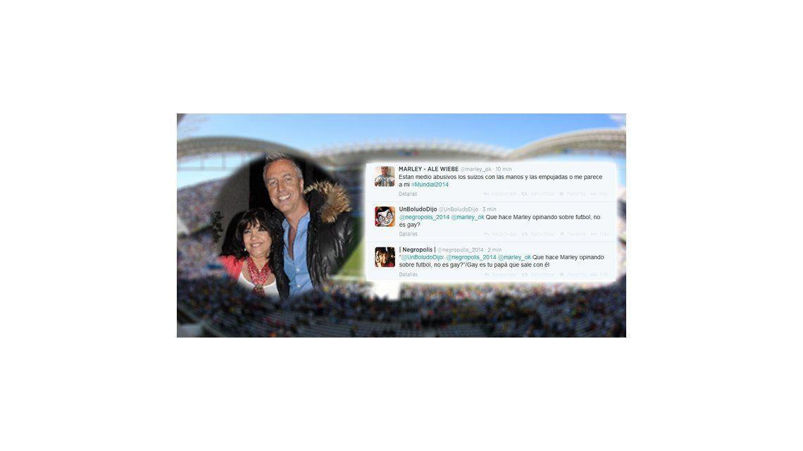 Marley comentó Argentina - Suiza en Twitter, lo acusaron de gay y la Negra Vernaci estalló