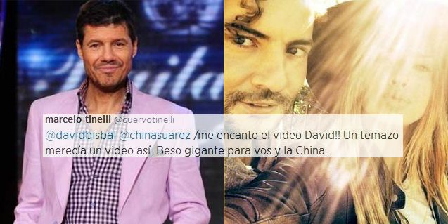 Marcelo Tinelli salió a bancar a la pareja de la China Suárez y David Bisbal por Twitter