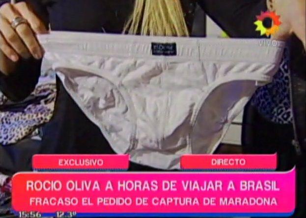 Rocío Oliva mostró un calzoncillo de Diego Maradona en televisión y él la quiere ver presa