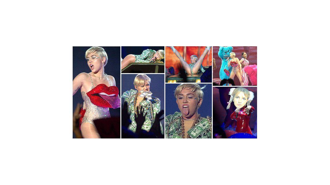 Miley Cyrus, siempre polémica: osada actuación y traje hecho con billetes de dólares
