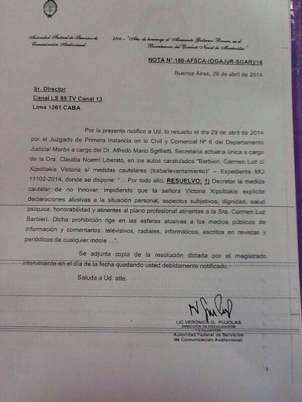 Carmen Barbieri y el bozal legal ¿para Tinelli?: el documento