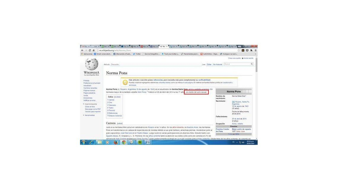 La polémica muerte que le dio Wikipedia a Norma Pons