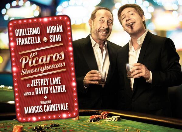 La marquesina de Suar y Francella para Dos pícaros sinvergüenzas en el teatro
