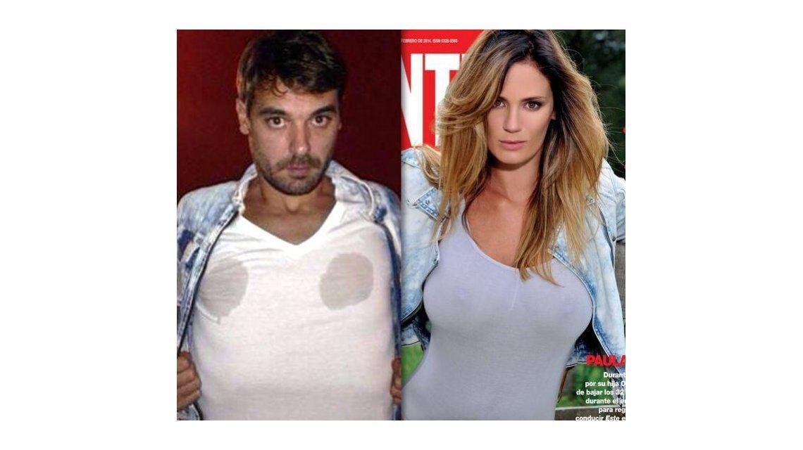 Pedro imitó a Paula en una producción hot para una revista