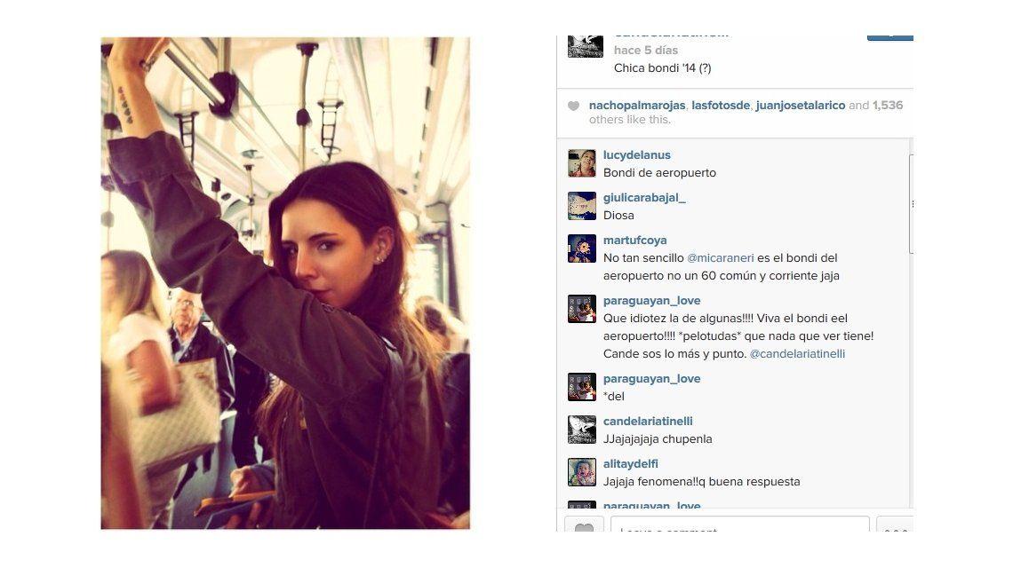 Candelaria Tinelli se sacó una foto en un bondi y la criticaron: Chúpenla, dijo