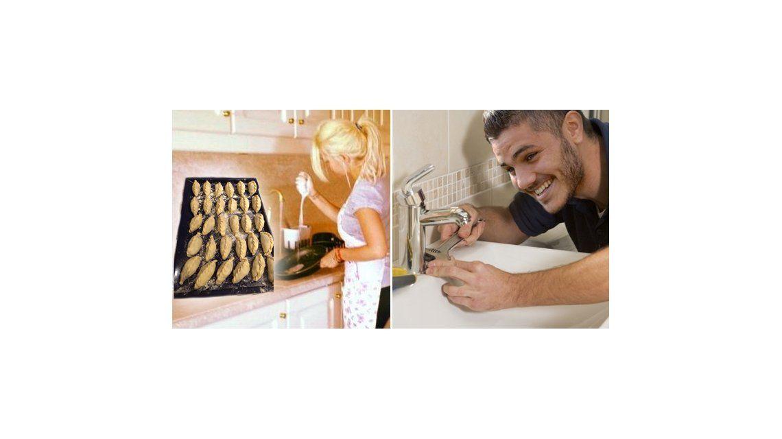 Mientras Mauro Icardi le arregla la cañería, Wanda cocina unas empanadas