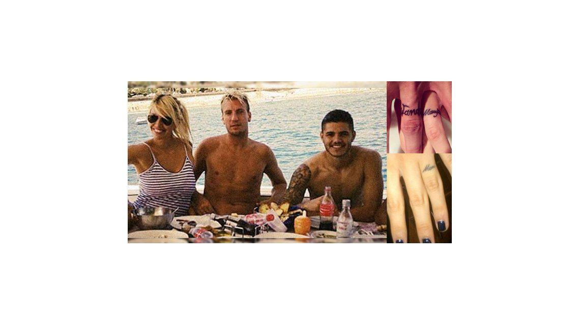 Wanda Nara se tatuó el nombre de Icardi en su dedo, en donde tenía a Maxi López
