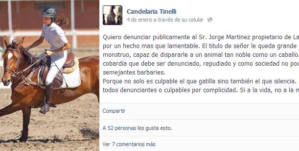 La furia y el descargo de Candelaria Tinelli por el asesinato de un caballo