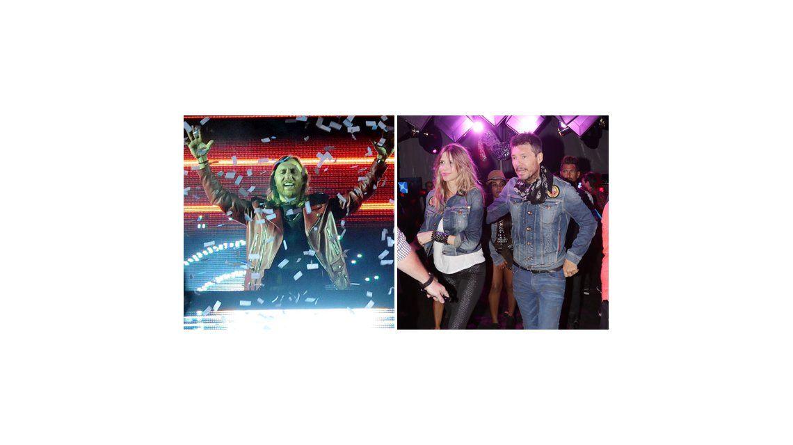 Tinelli y Guillermina Valdés en la fiesta de David Guetta bailando música electrónica