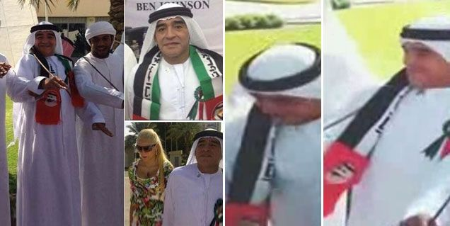 Las divertidas imágenes de Maradona como jeque árabe: bailó y cantó en una fiesta