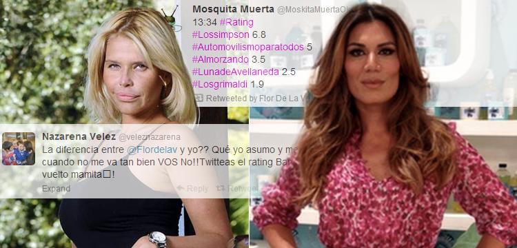 Nazarena vs Flor de la V: una tuiteó el rating de Los Grimaldi y la otra enfureció