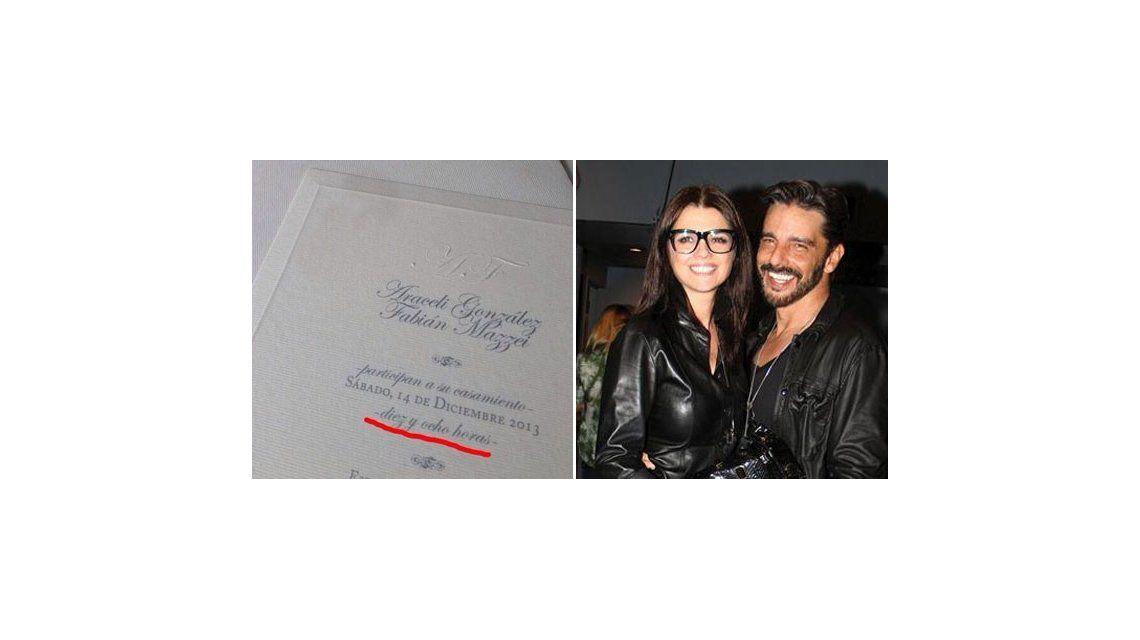 El confuso dato en la invitación al casamiento de Araceli González y Mazzei