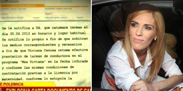 Vivana Canosa dice que no mandó la carta documento que se vio en televisión
