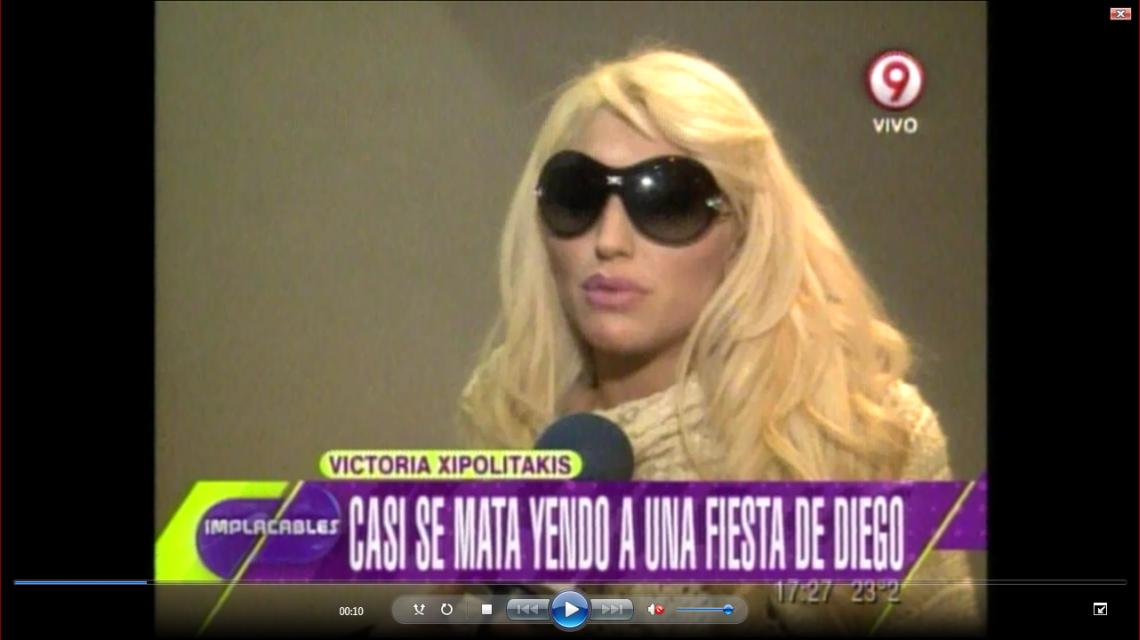 Vicky Xipolitakis sufrió un duro choque antes de llegar a una fiesta de Maradona