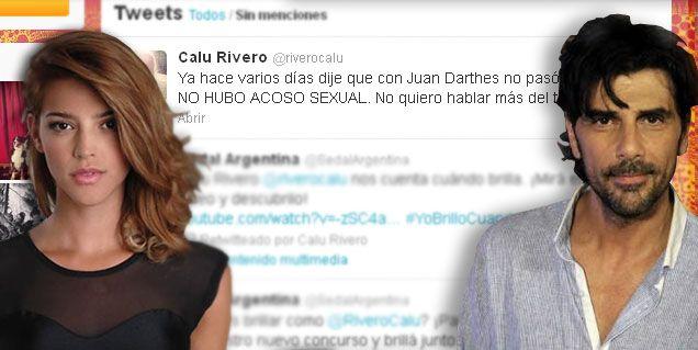 Juan Darthés amenazó con demandarla y Calu aclaró: No hubo acoso sexual