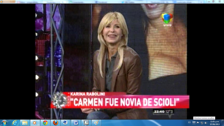 Bomba nocturna: Karina Rabolini contó que Scioli fue novio de Carmen Barbieri