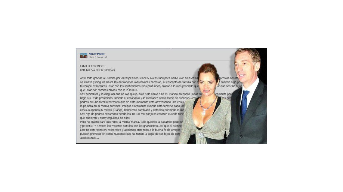 Pazos reconoció en facebook su separación y pidió que no dañen a sus hijos