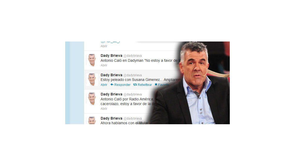 El misterioso tweet de Dady Brieva sobre su pelea con Susana Giménez