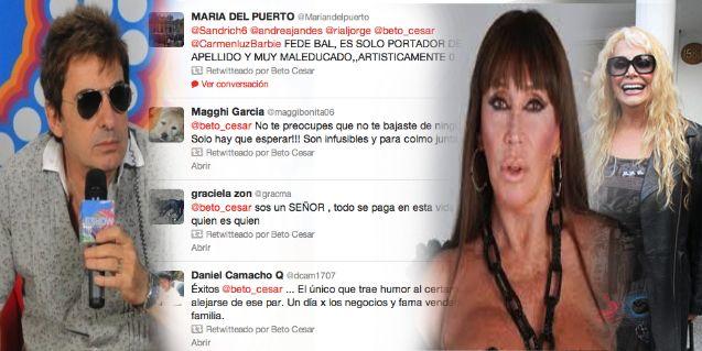 Beto Cesar, demoledor en contra de Carmen Barbieri y Moria Casán vía twitter