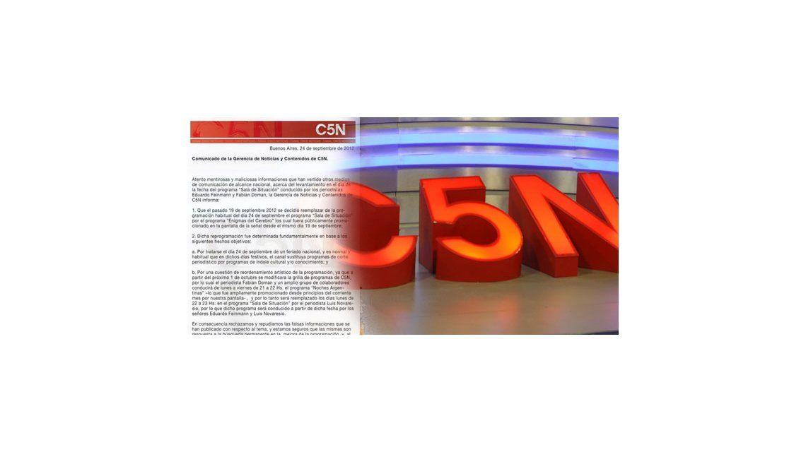 Comunicado de C5N por el levantamiento del programa de Eduardo Feinmann