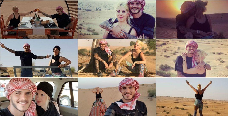 Wanda Nara y Mauro Icardi en el desierto.